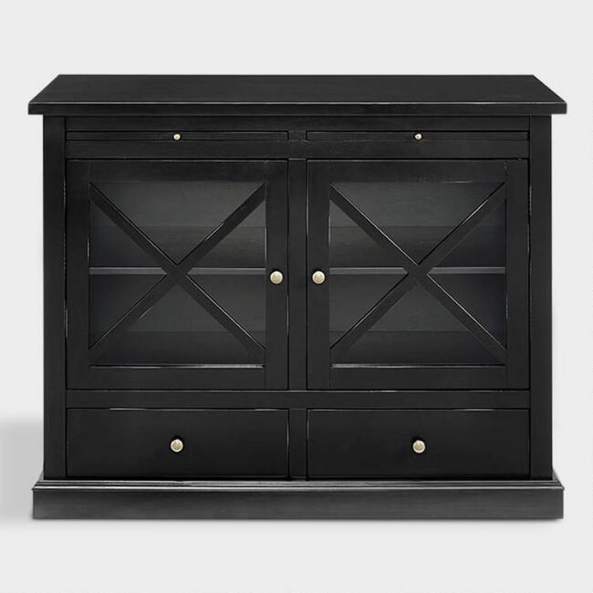 Black Wood Reese Storage Cabinet