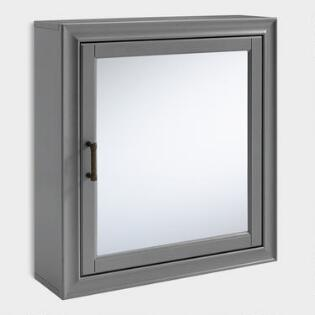 Gray Wood Oden Bathroom Wall Cabinet With Mirror