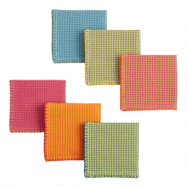 Multicolored Waffle Weave Dish Cloths Set of 6