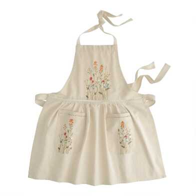 Natural Embroidered Floral Apron with Lace Trim