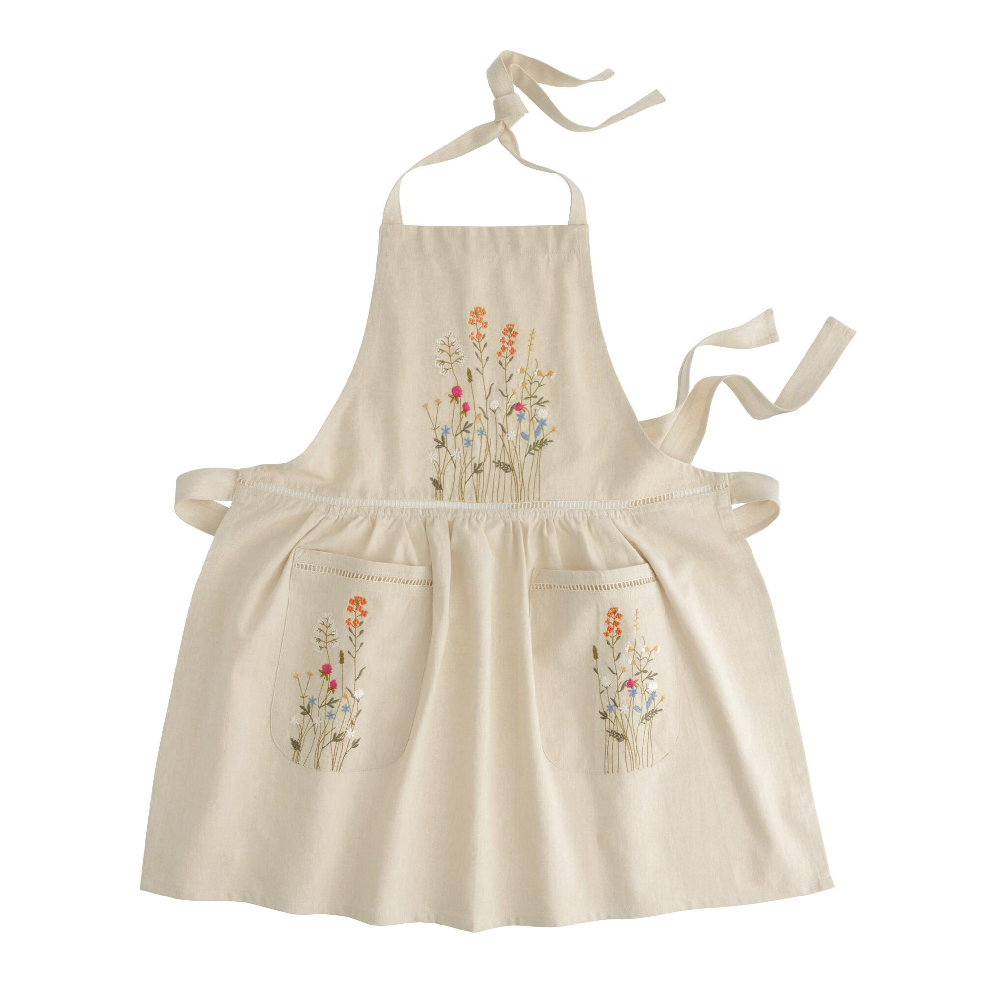 Vintage Aprons, Retro Aprons, Old Fashioned Aprons & Patterns Natural Embroidered Floral Apron with Lace Trim by World Market $24.99 AT vintagedancer.com