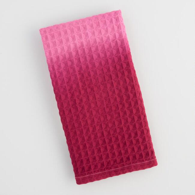 Pink Ombre Waffle Weave Kitchen Towel