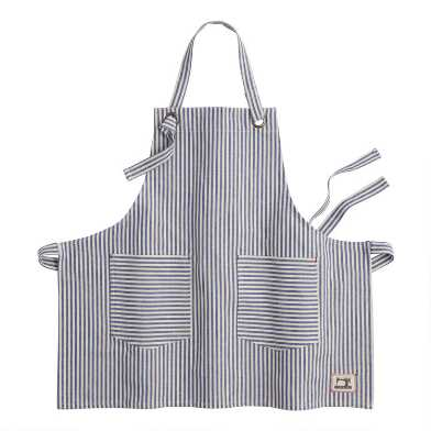 Blue and White Ticking Stripe Apron