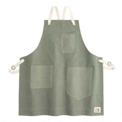 Green Chambray Cross Back Apron