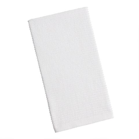 White Woven Cotton Kitchen Towels Set of 2