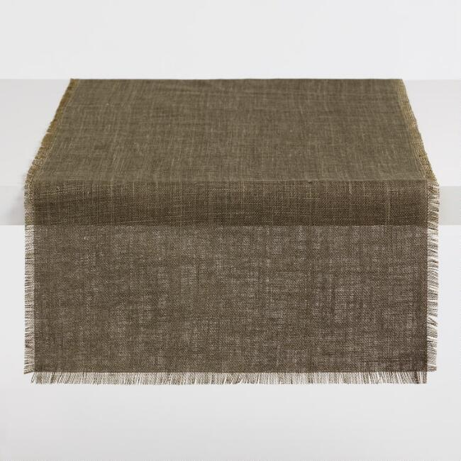 Oversized Olive and Chartreuse Jute Reversible Table Runner