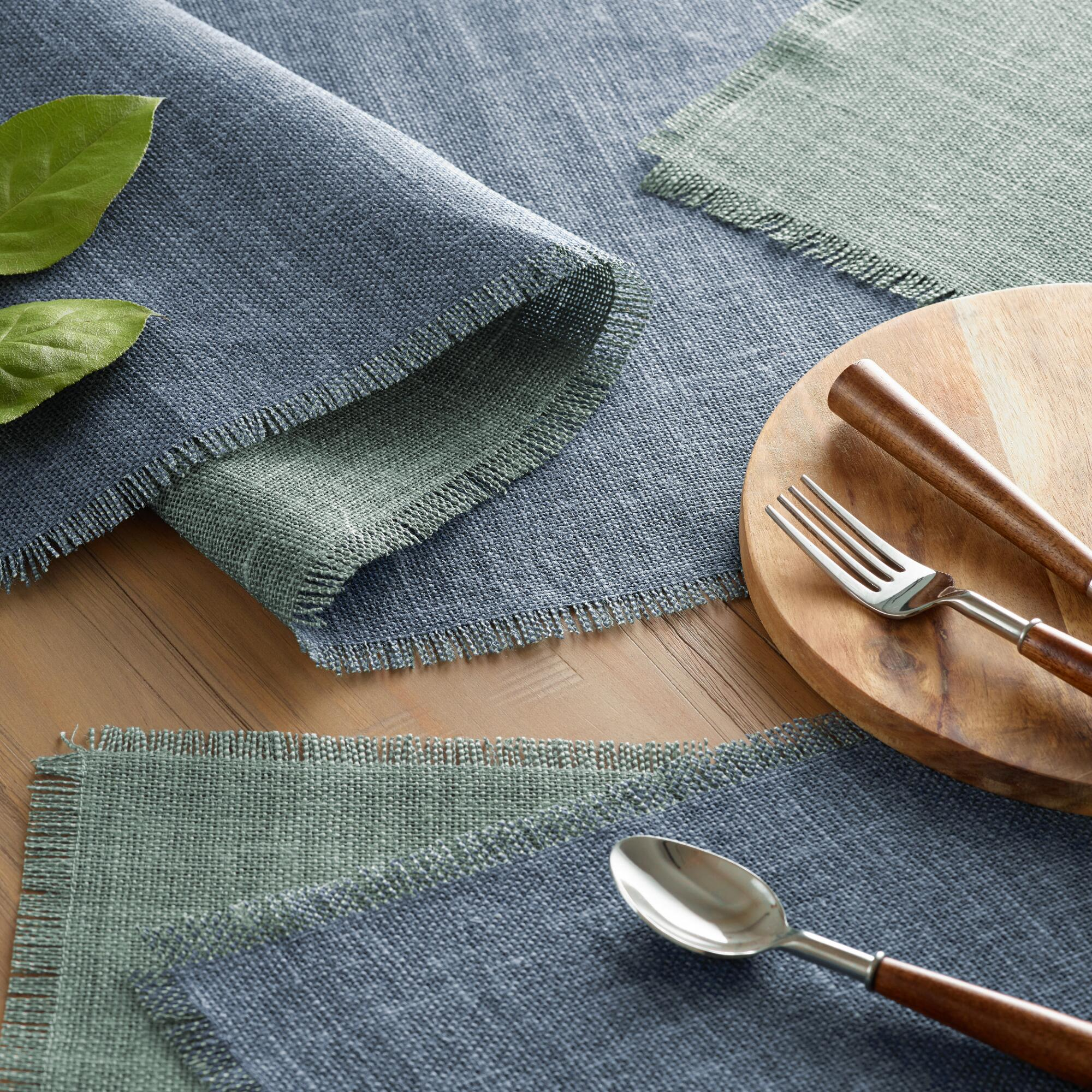 Blue and Aqua Jute Reversible Table Linen Collection by World Market