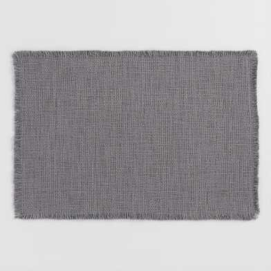 Dark Gray Woven Cotton Placemats with Fringe Set of 4