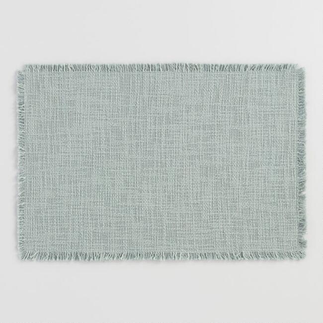 Slate Green Woven Cotton Placemats with Fringe Set of 4