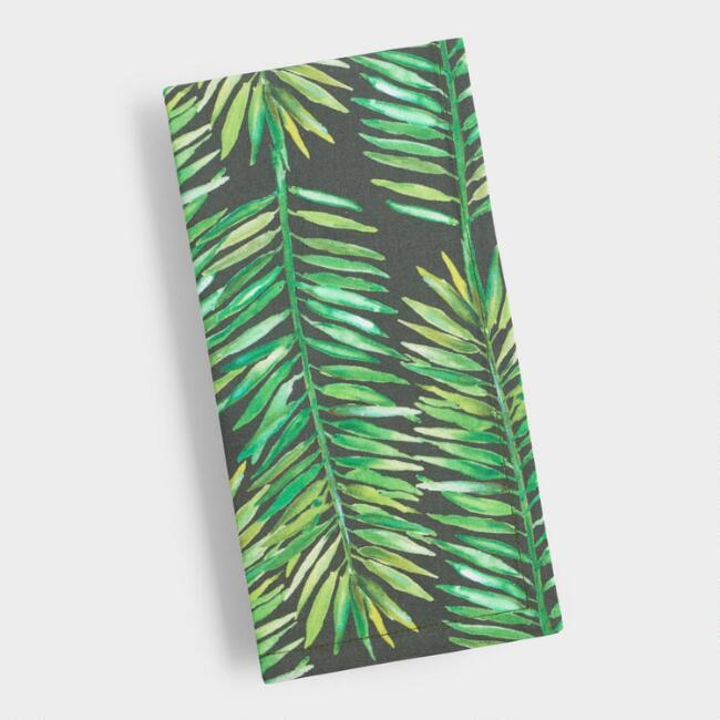 Tropical Leaf Print Napkins Set of 4