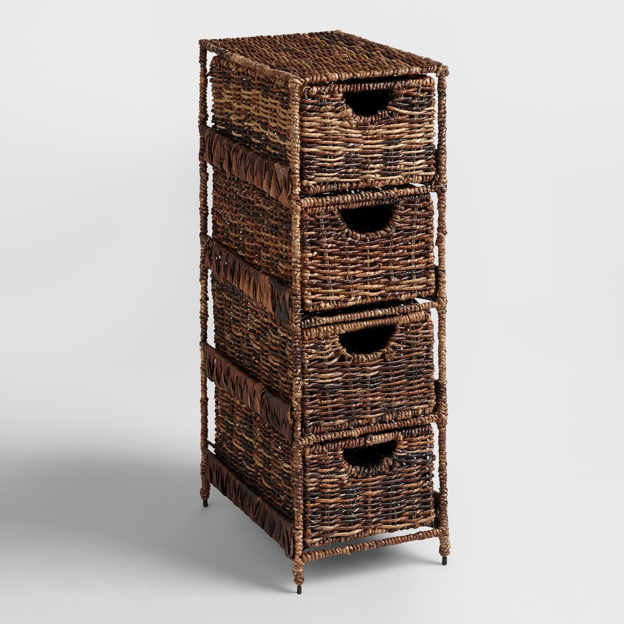4-drawer Madras Tower: Brown - Natural Fiber By World Market