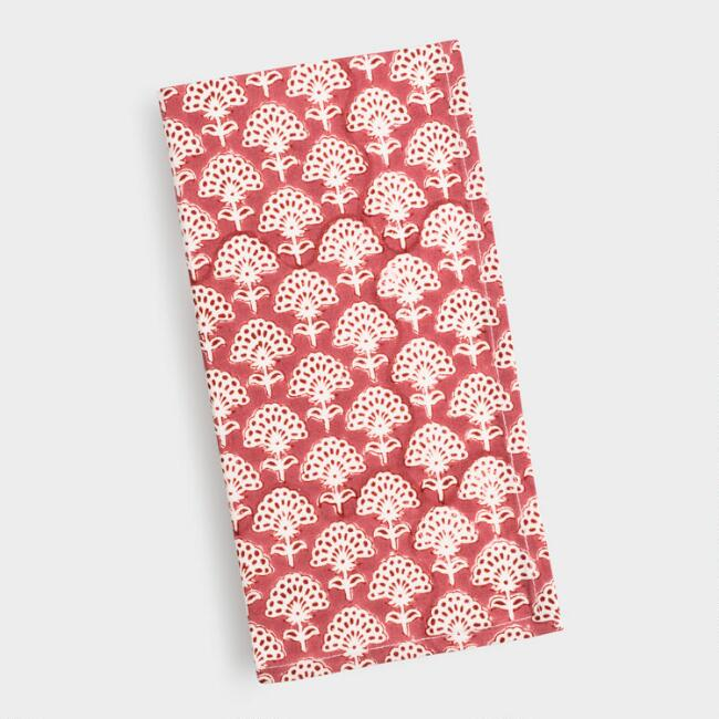 Brick Red Floral Fan Print Napkins Set of 4