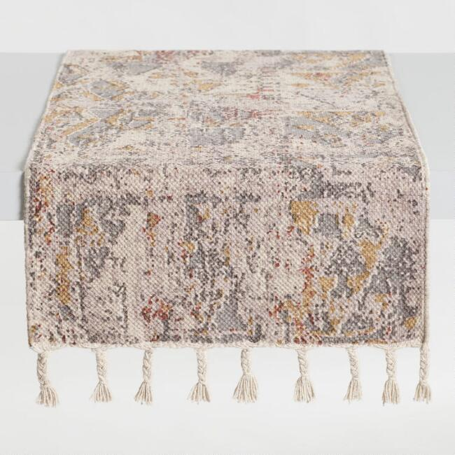 Gray and Lavender Abstract Dhurrie Kiran Table Runner