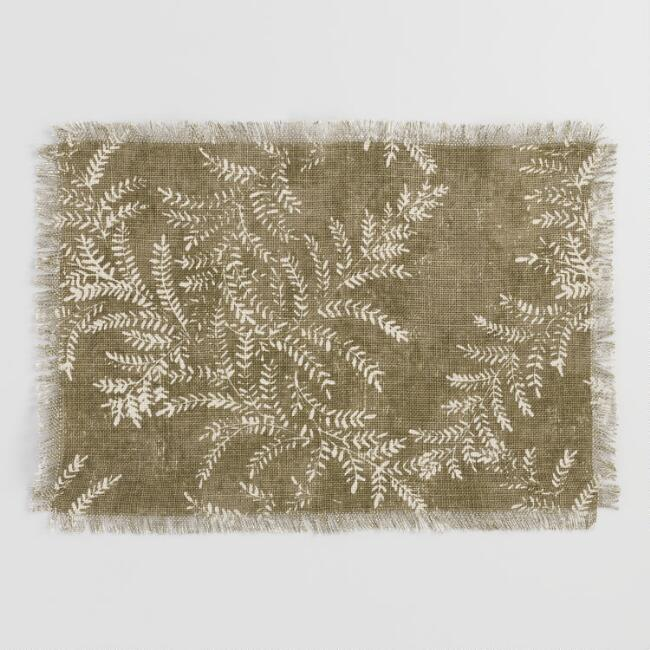 Olive Green Yellowstone Jute Placemats Set of 4