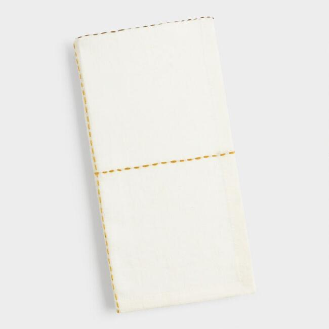 Ivory Linen Embroidered Napkins Set of 4