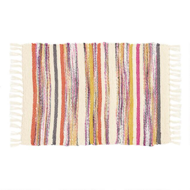 Warm Multicolor Chindi Stripe Placemats Set of 4