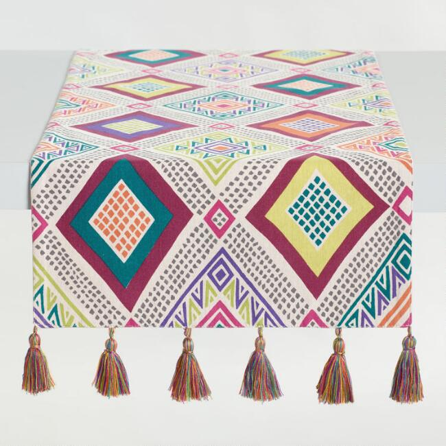 Multicolor Diamond Print Jane Table Runner with Tassels