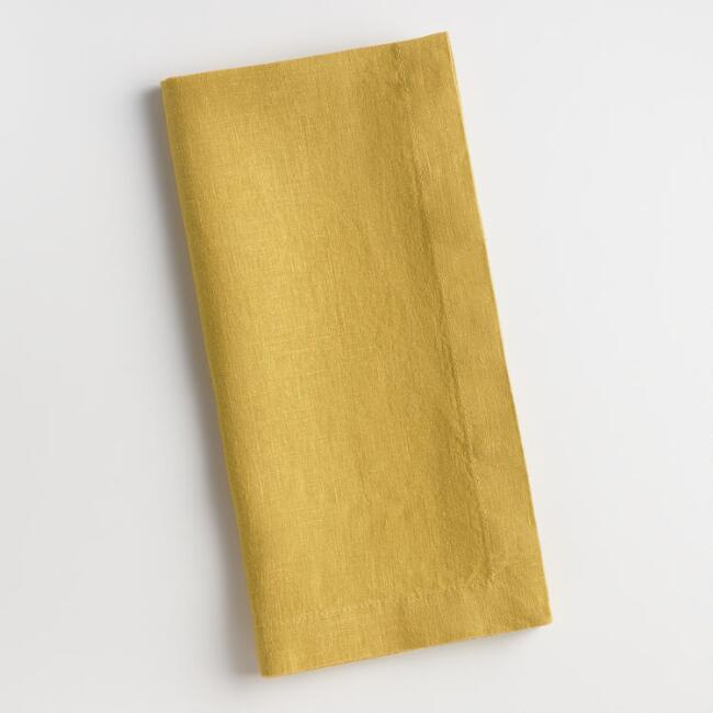 Chartreuse Yellow Linen Napkins Set of 4