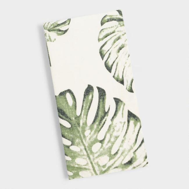 Tropical Leaf Linen Napkins Set of 4