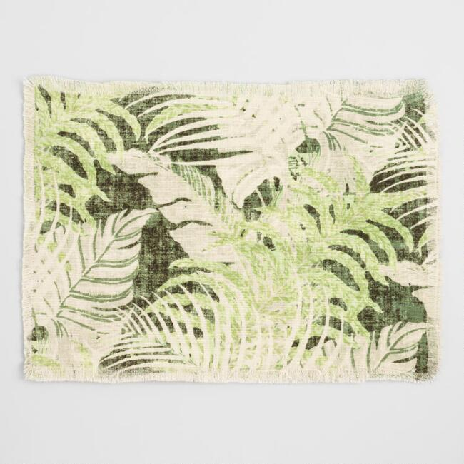 Green Tropical Leaves Molai Placemats Set of 4