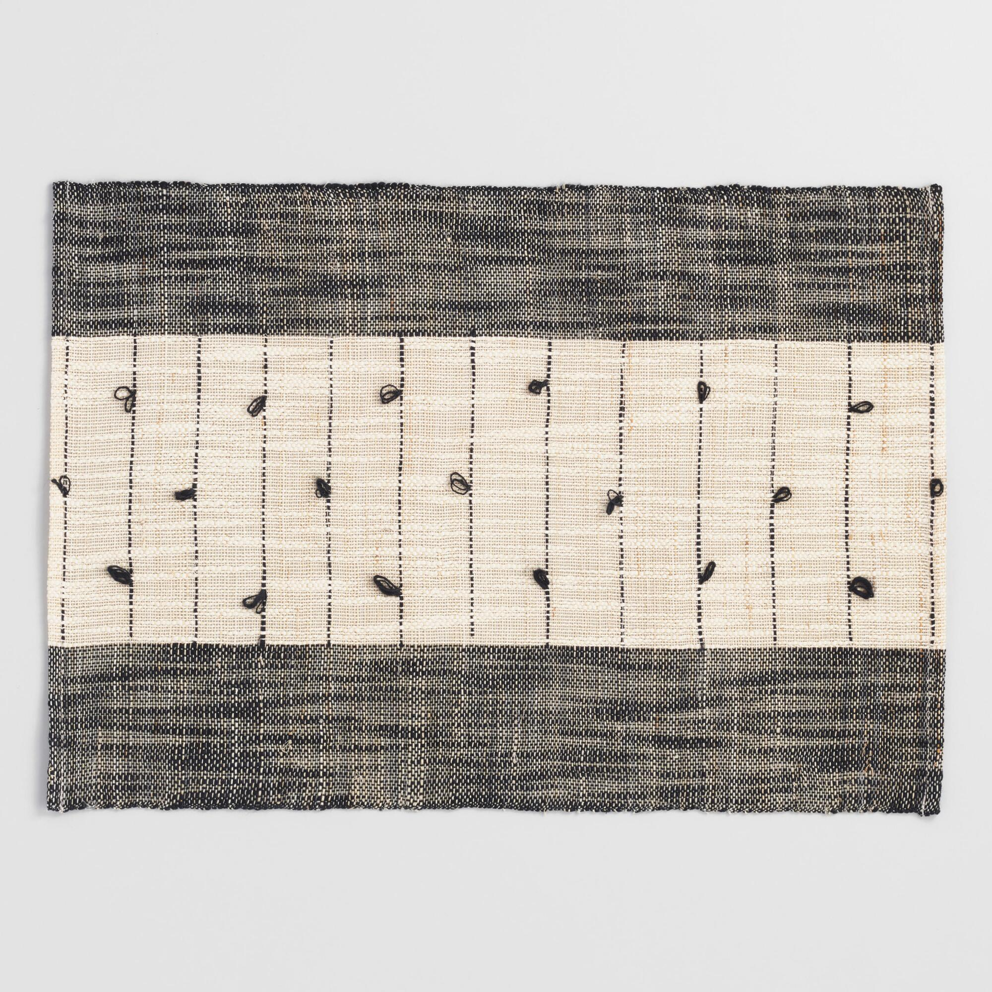 Black and White Natural Fiber Woven Placemats Set of 4 by World Market