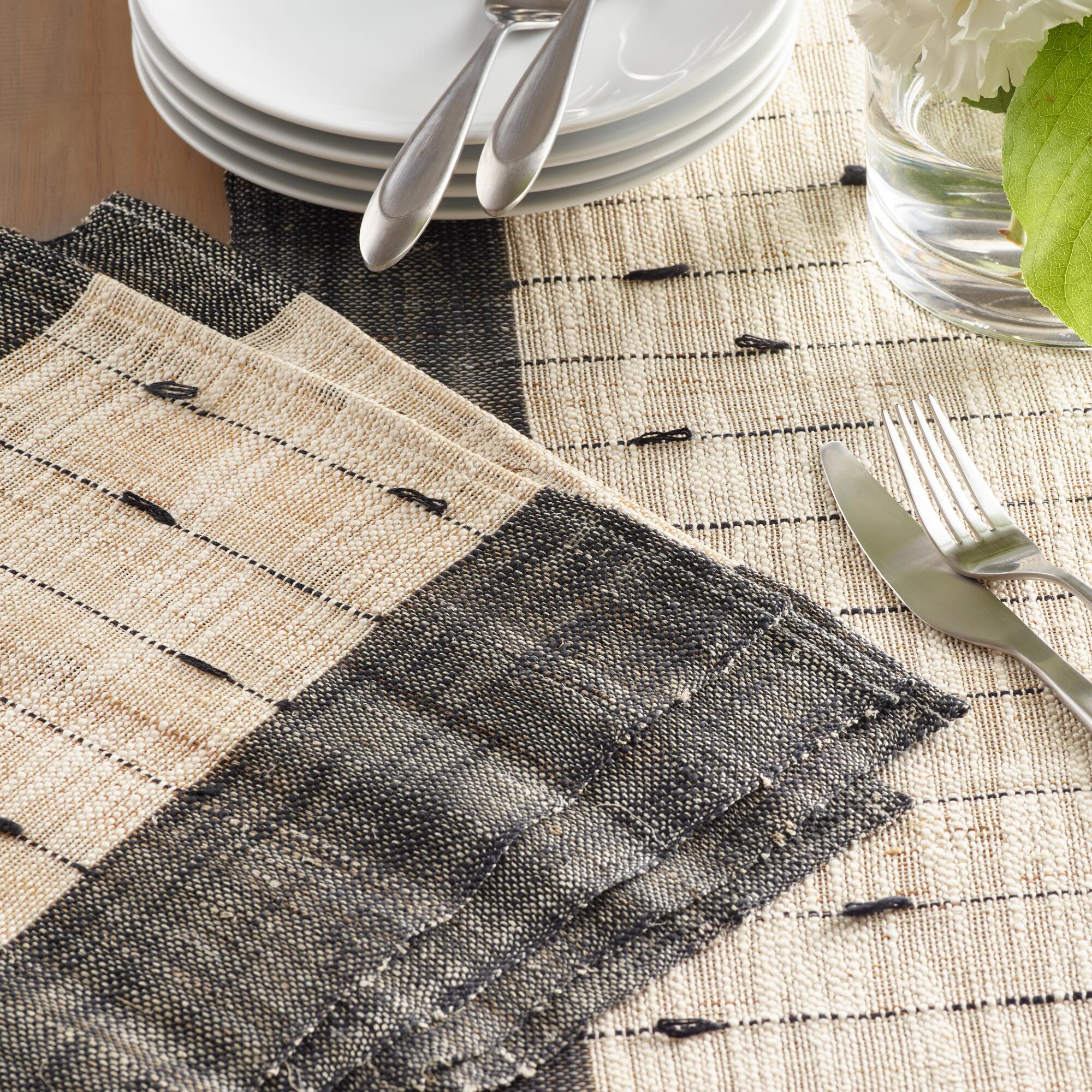 Black and White Natural Fiber Woven Table Linen Collection by World Market
