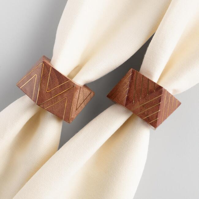 Geometric Wood and Brass Napkin Rings Set of 4