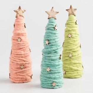 wood and wool cone trees set of 3 - Holiday Value Decorative Christmas Set