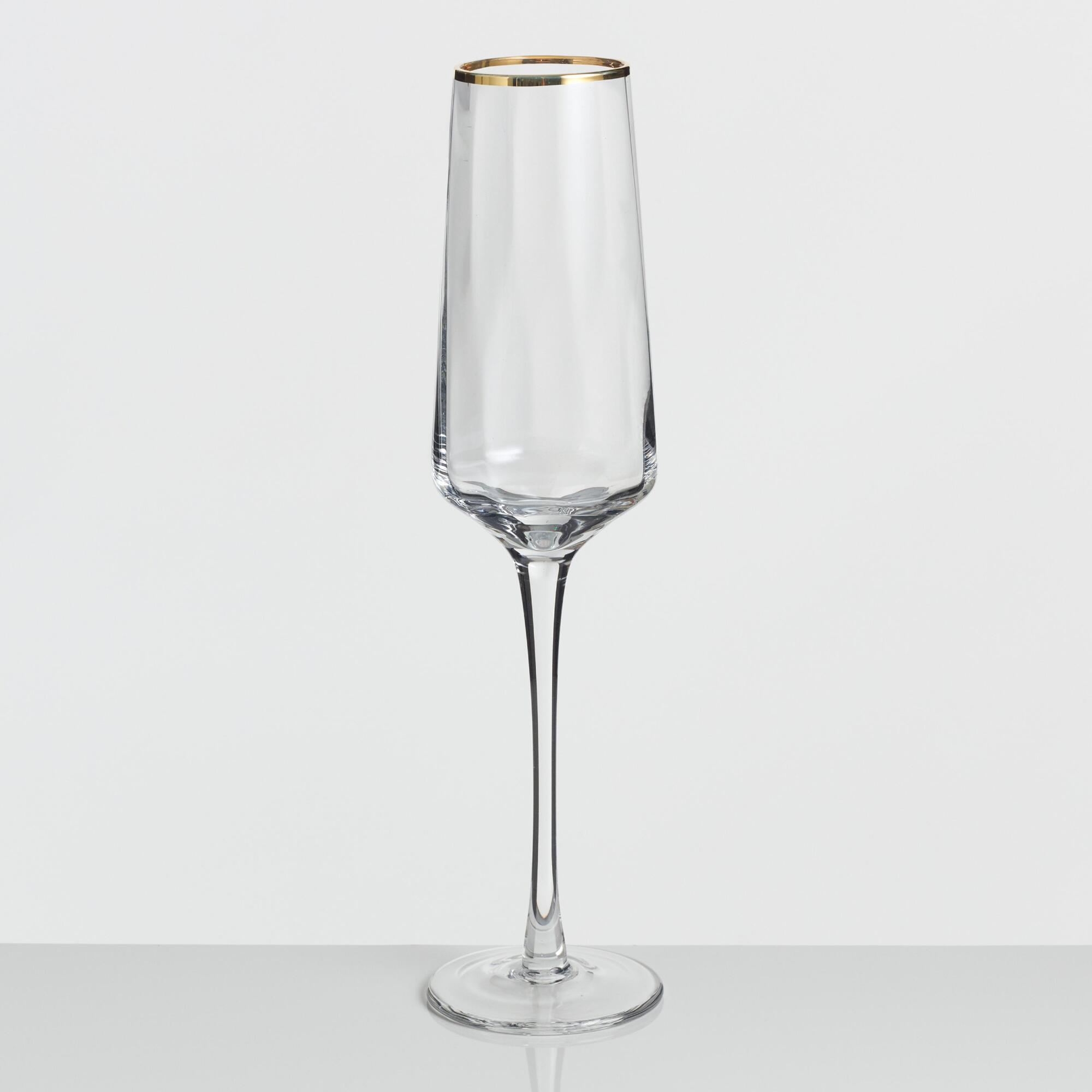 Gold Rim Optic Champagne Flutes Set of 4 by World Market