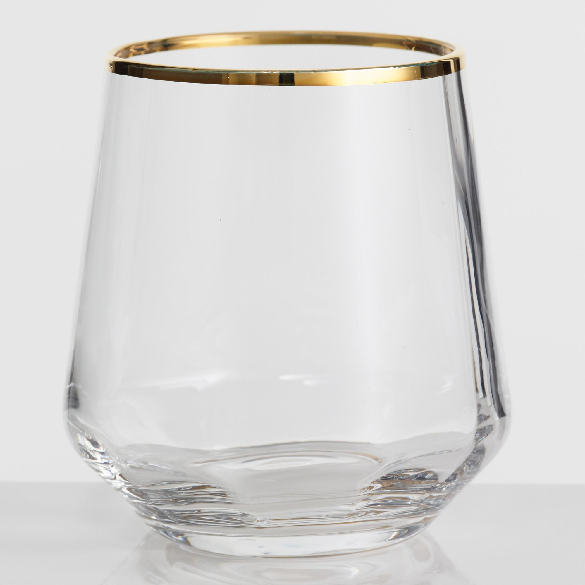 Gold Rim Optic Glass Stemless Wine Glasses Set of 4 by World Market