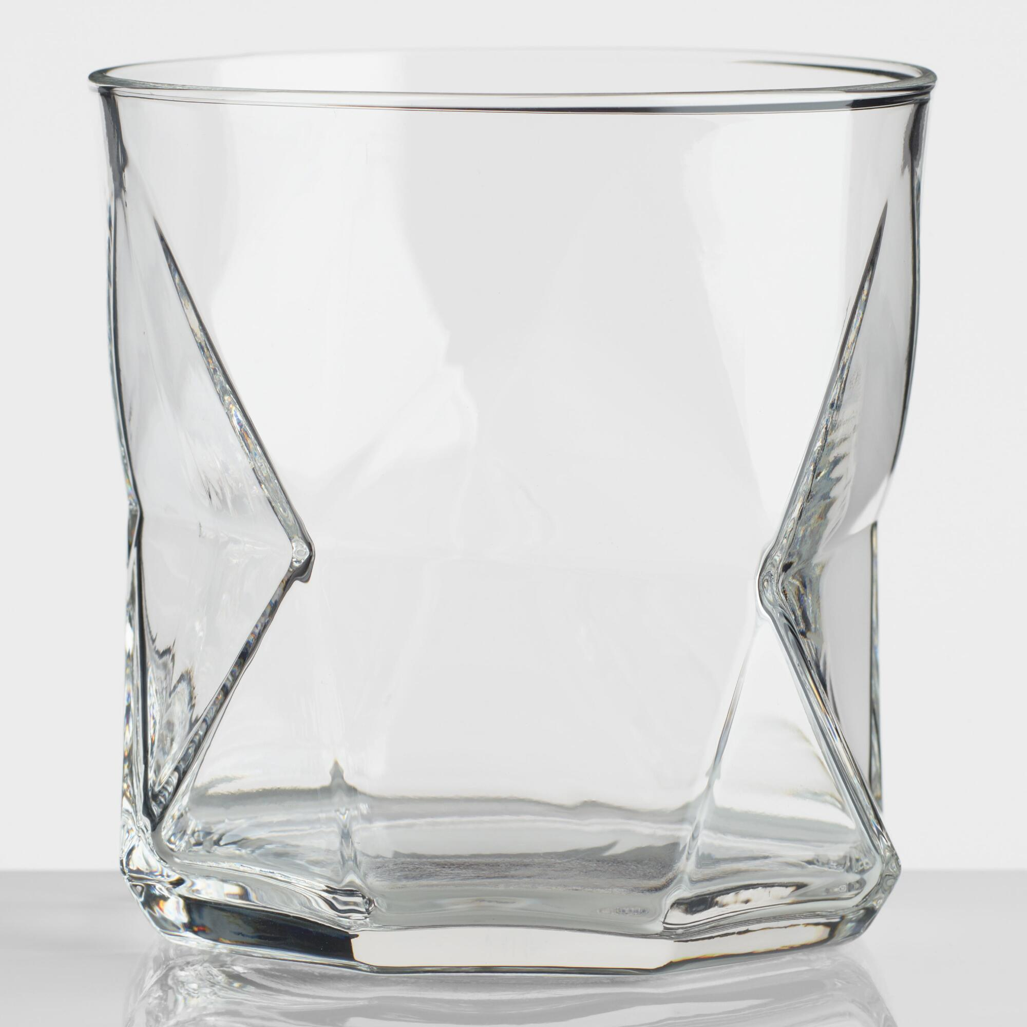 Clear Geo Cassiopea Double Old Fashioned Glasses Set of 4 by World Market