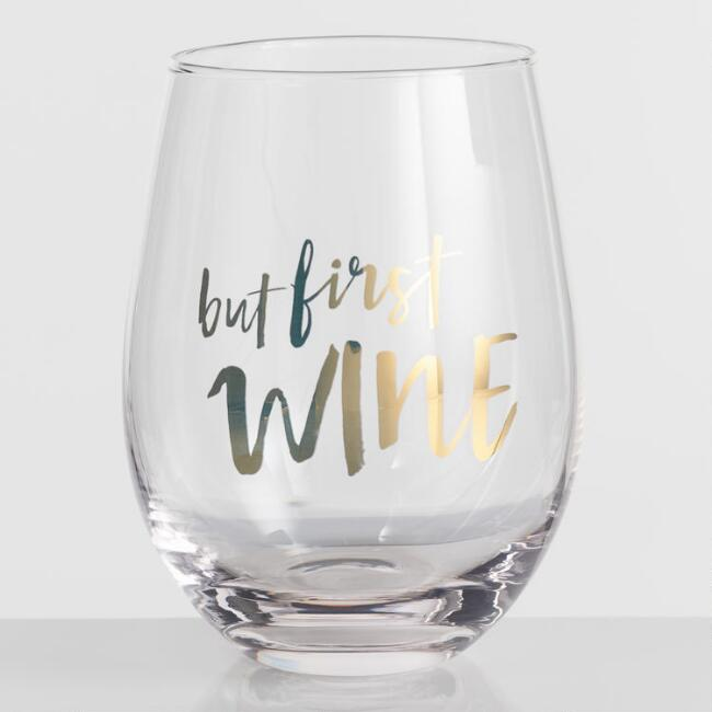 But First Wine Stemless Wine Glasses Set of 4