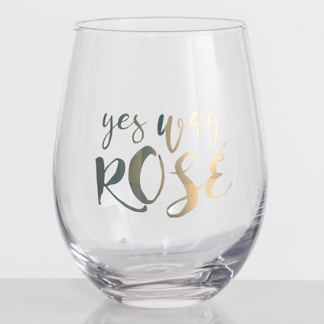 Yes Way Rose Stemless Wine Glasses Set of 4