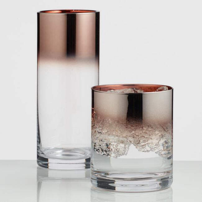 Metallic Copper Ombre Glassware Collection