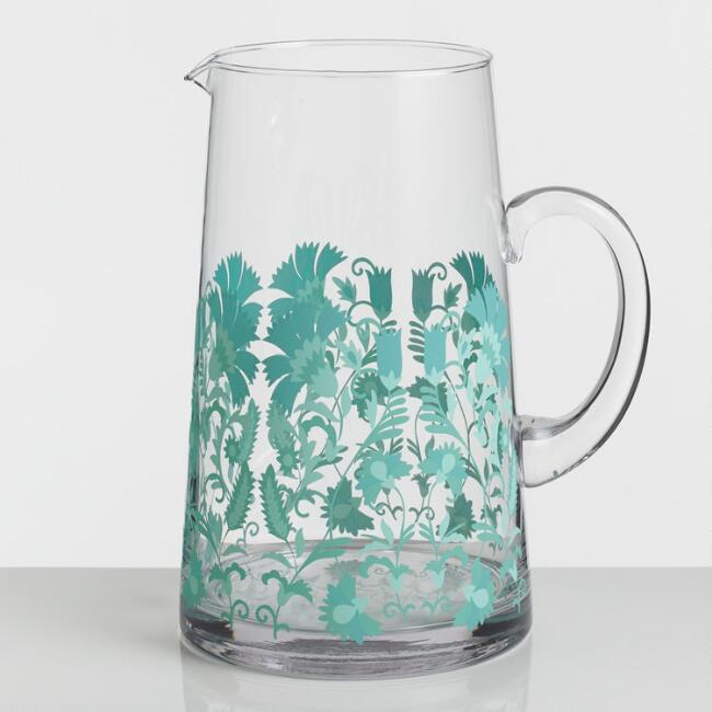 Blue Floral Glass Zuri Pitcher