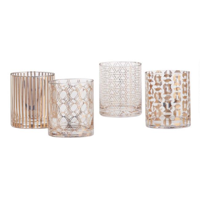 Metallic Gold Pattern Double Old Fashioned Glasses Set of 4