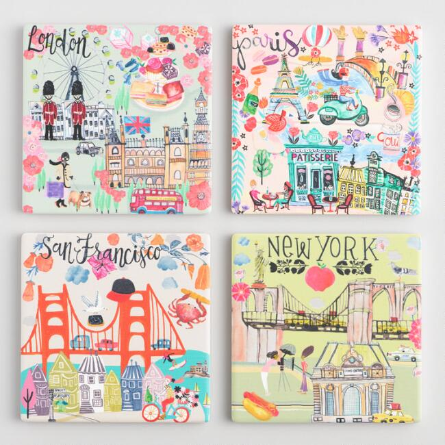 Illustrated Cities Coasters 4 Pack