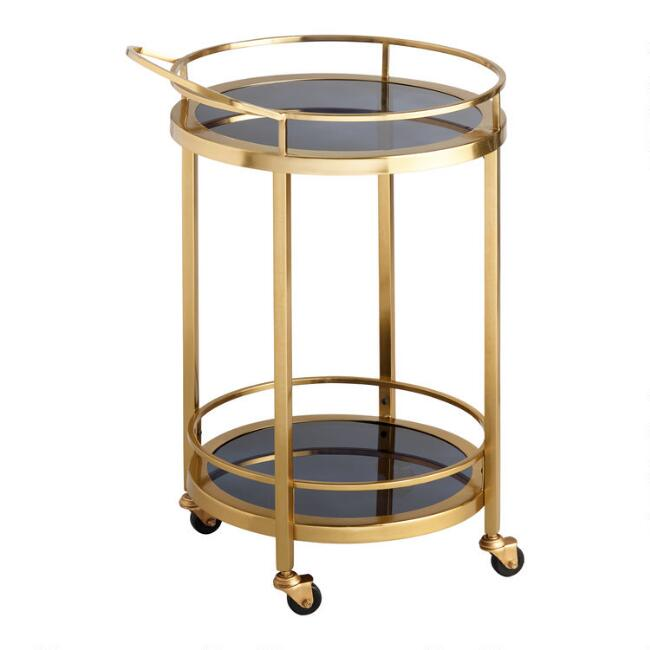 Round Smoke Black Glass and Gold Bar Cart
