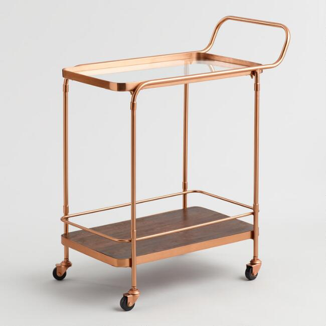 Wood and Copper Bar Cart