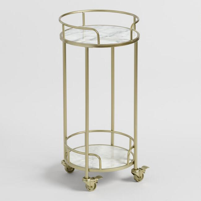 Round Gold Metal and White Marble Bar Cart