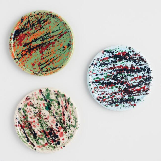 Splatter Art Ceramic Coasters Set of 3