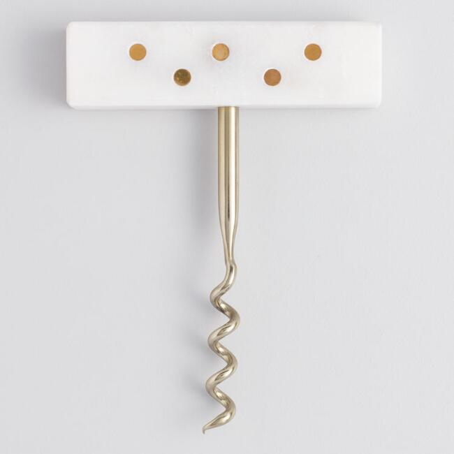 White Marble and Gold Metallic Dot Corkscrew