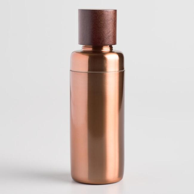 Copper and Wood Cocktail Shaker