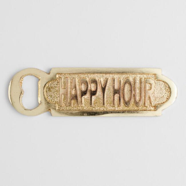 Gold Metal Happy Hour Bottle Opener