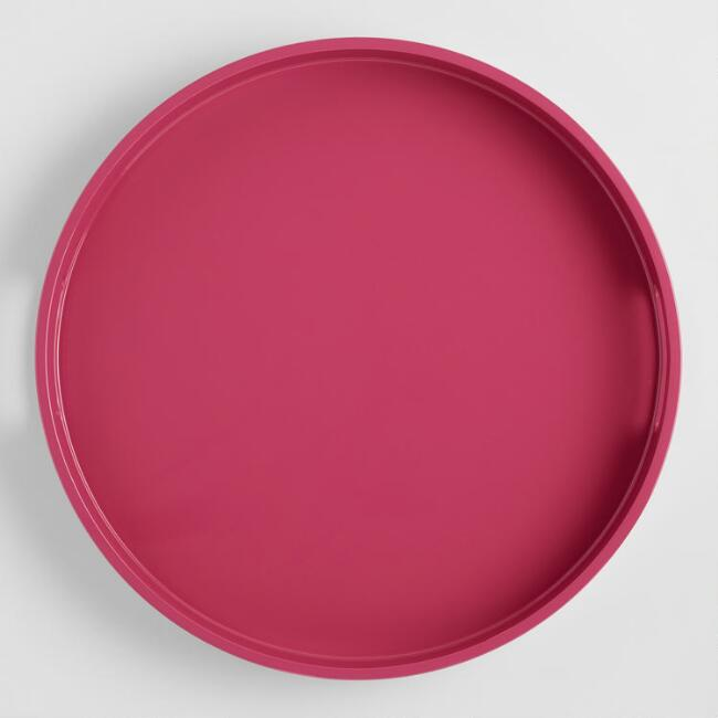 Large Round Hot Pink Lacquer Serving Tray
