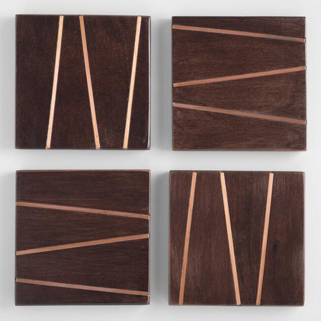 Square Wood and Copper Inlay Coasters 4 Pack