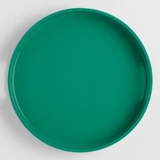 Small Round Green Lacquer Serving Tray