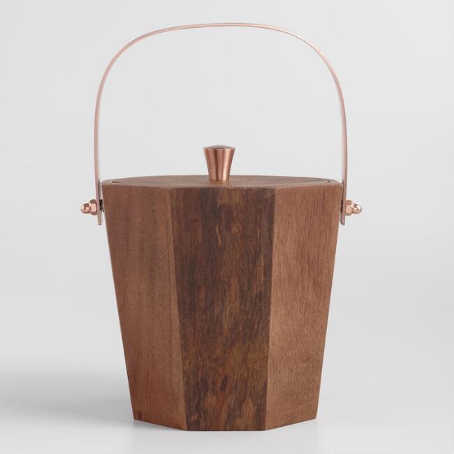 Wood and Copper Ice Bucket