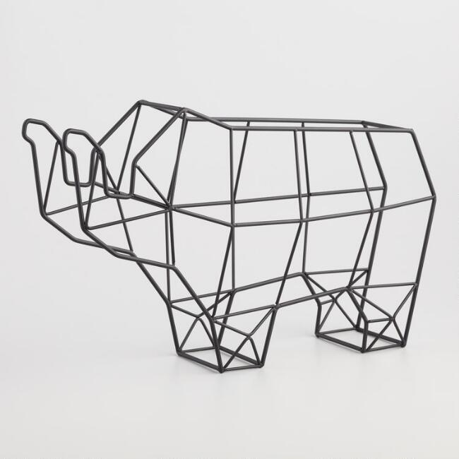 Metal Wire Elephant 6 Bottle Wine Rack