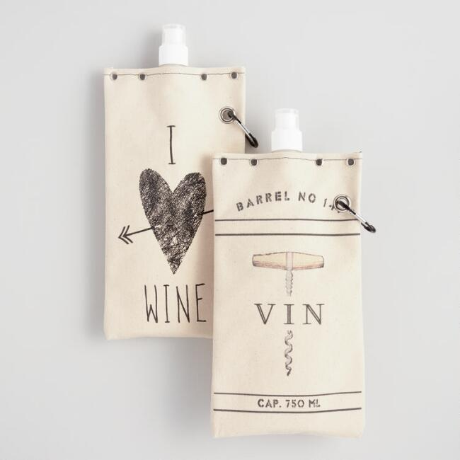 Canvas Wine Canteens Set of 2
